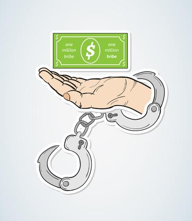 bribe: bribe and hand with handcuffs on blue gradient background, vector Illustration