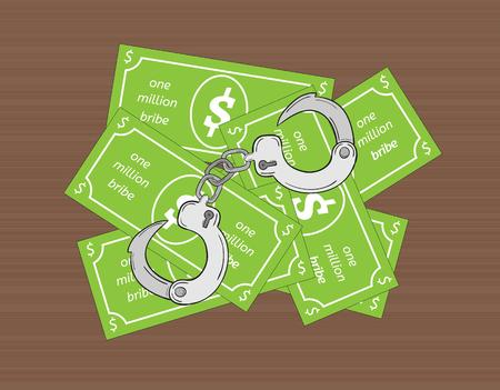bribe: bribe and handcuffs on wooden background, vector