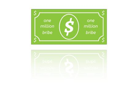 bribe: bribe paper money with shadow on white background