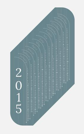 monthly calendar 2015 on blue background