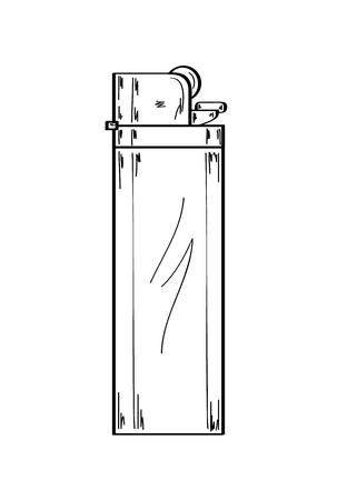 gas lighter: sketch of the gas lighter on white background, vector, isolated Illustration