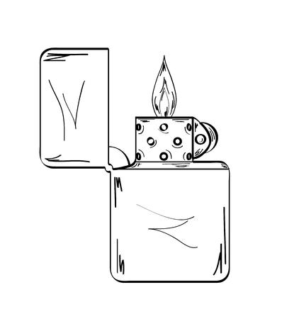 sketch of the lighter with flame on white background, vector, isolated Vector