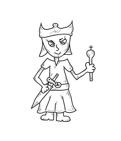 prince with sword and crown, vector, isolated, sketch Vector
