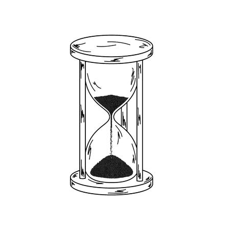 elegant old sandglass on white background, sketch, vector, isolated Illustration