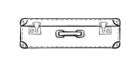 schets van de koffer op een witte achtergrond, geïsoleerd