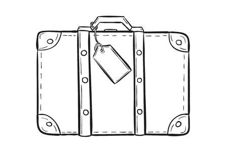 bosquejo de la maleta con etiqueta en el fondo blanco, aislado