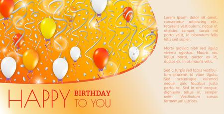 happy birthday card with balloons and falling confetti Vector