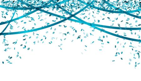 falling oval confetti and ribbons with blue color Ilustração