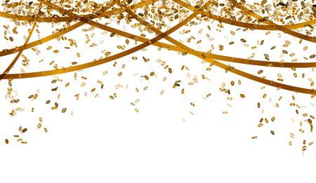 落下の楕円形紙吹雪とゴールド カラーのリボン