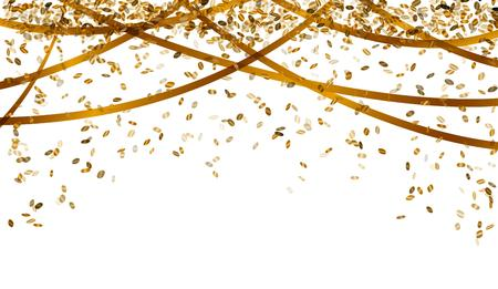 birthday celebration: falling oval confetti and ribbons with gold color Illustration