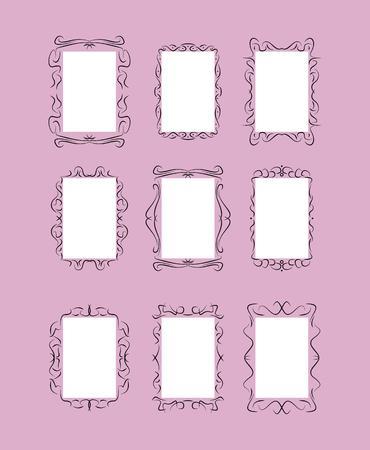 set of nine frames on purple background, vector Vector