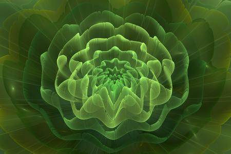 fractals: abstract fractal background of colorful waves on green background Stock Photo