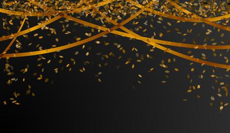 falling oval confetti and ribbons with gold color on black background Ilustração