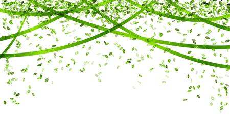 decoration    design: falling oval confetti and ribbons with green color