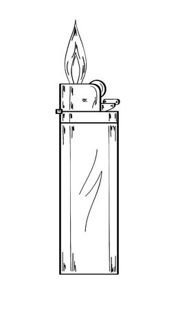 sketch of the gas lighter with flame on white background, vector, isolated Vector