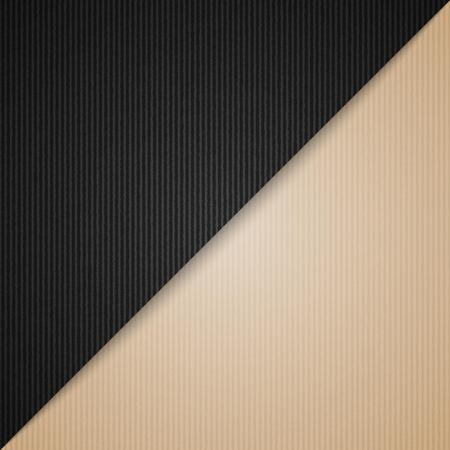 empty corrugated brown and black cardboard background, vector template Vector