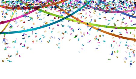 falling oval confetti and ribbons with different colors