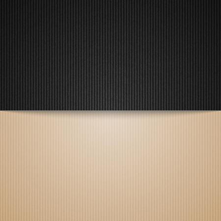 corrugated cardboard: empty corrugated brown and black cardboard background, vector template