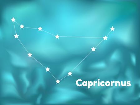 capricornus: star constellation of capricornus on blue background, vector