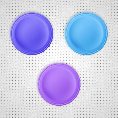 Blank badges with blue, light blue and violet color. Vector