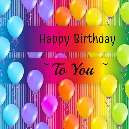 happy birthday card with balloons with color background Vector