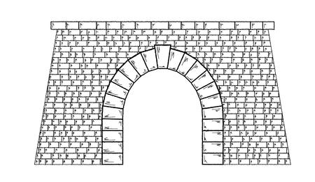 sketch of the stone tunnel on white background, isolated
