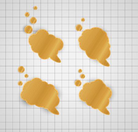 hoja cuadriculada: cuatro de oro diferente hablar burbujas en el gr�fico gris de fondo de papel Vectores