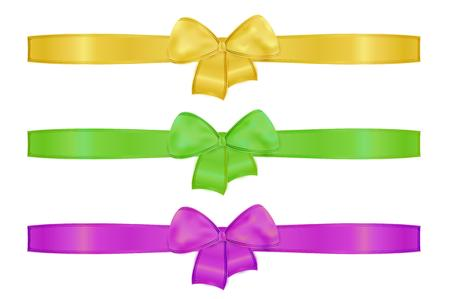 collection of the three ribbons with different color - green, yellow, violet Vector