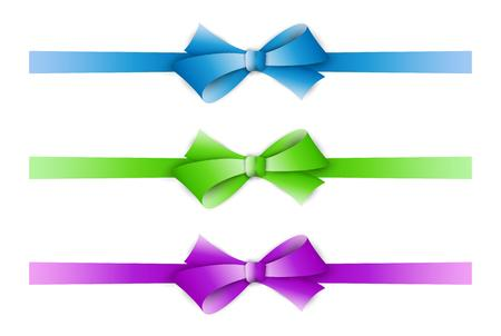 collection of the three ribbons with different color - blue, green, violet Vector