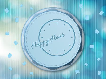 happy hour with clock on red background Vector