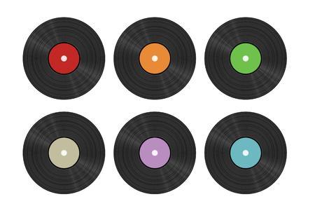 six vinyl discs on white background, isolated Vector