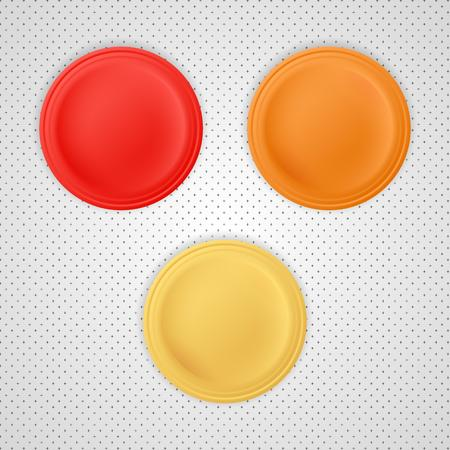 Blank badges with red, orange and yellow color. Vector