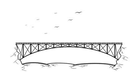 Metal bridge over the river between two rocks and birds. Sketch.