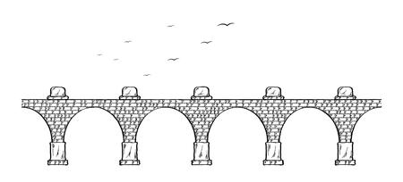Sketch of the old stone bridge and birds. Vector