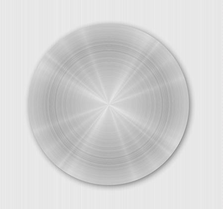 Rounded brushed metal plate with gray or silver color on gray background Vector