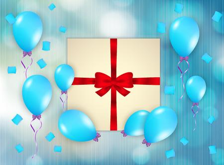 gift with blue balloons and falling confetti Vector