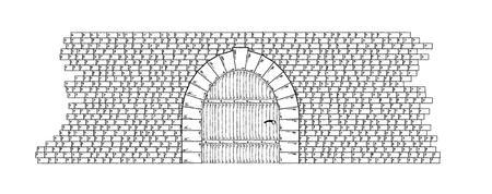 Schets van de stenen muur en deur op een witte achtergrond, geïsoleerd