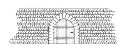 Sketch of the stone wall and door on white background, isolated Vector