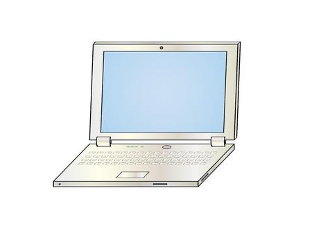 illustration of the silver laptop on white background, isolated Vector
