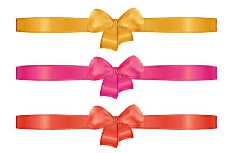 collection of the three ribbons with different color - gold or yellow, red, pink