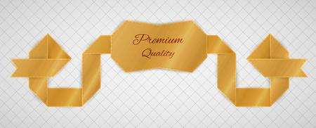gold premium quality label on gray graph paper Vector