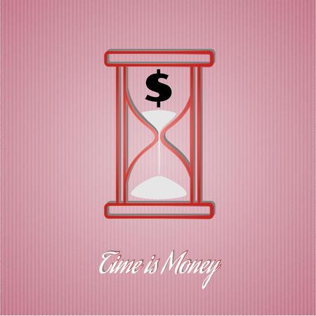 time is money wit sand glass on red cardboard background Vector