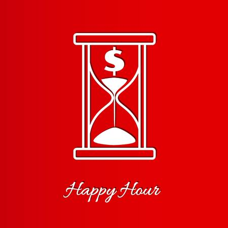 sandglass: happy hour background with sandglass on red background