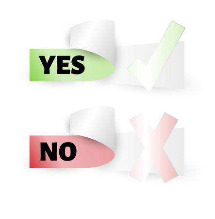 voting label with yes and no text, isolated Vector