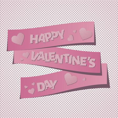 happy valentines day with hearts on pink background Vector