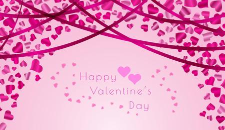 happy valentine`s day with color balloons hearts on color background Vector