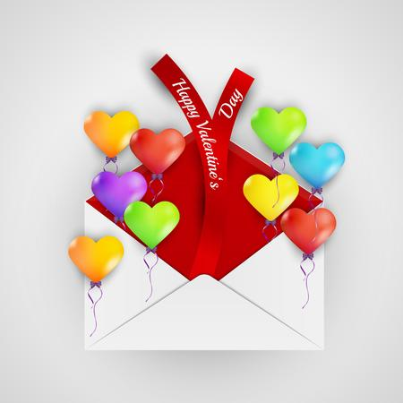happy valentine`s day with color balloons hearts and envelope with ribbons Vector