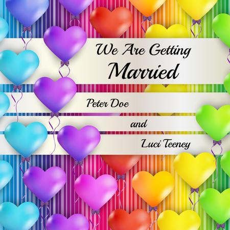 getting married: getting married with color heart balloons on color background