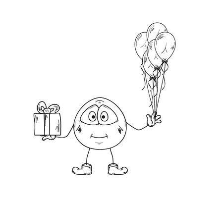 emoticon with balloons and present on white background, isolated Vector