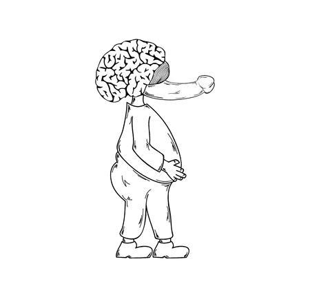 pene: brutta creatura con il naso pene su sfondo bianco, isolato, abbozzo